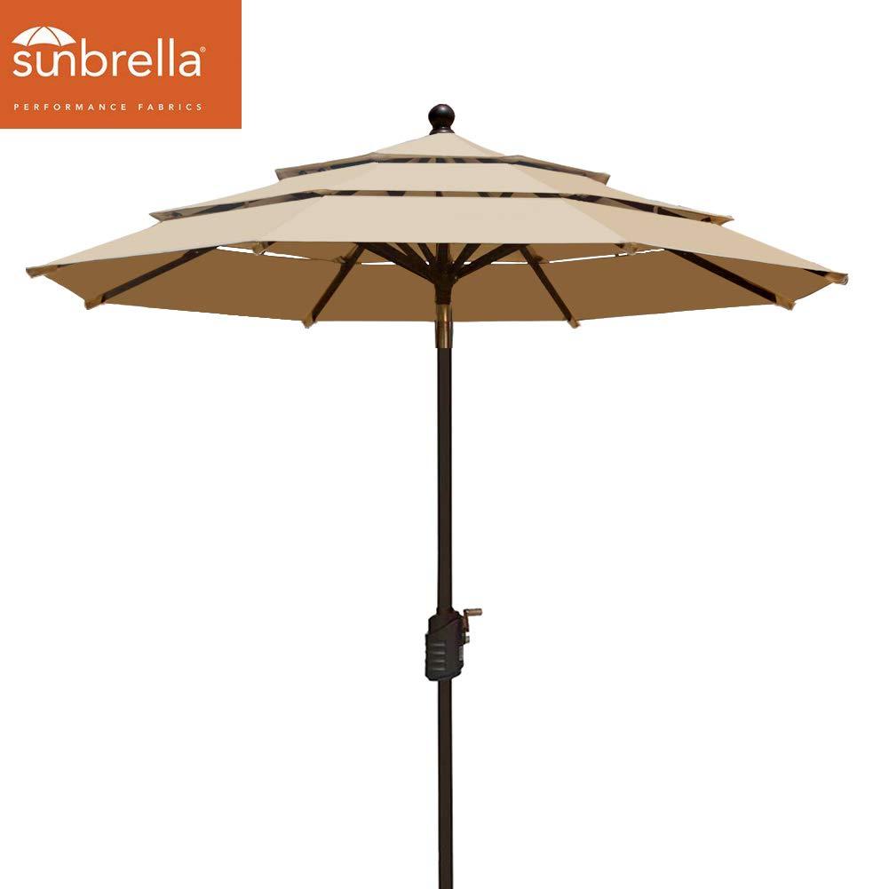 EliteShade Sunbrella 9Ft Patio Outdoor Table Umbrella 3 Layers with Ventilation (Sunbrella Heather Beige)
