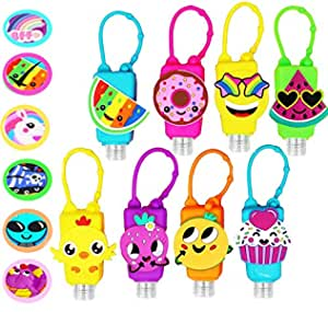 KINIA 8 Pack Empty Mixed Kids Hand Sanitizer Travel Size Holder Keychain Carriers ~ 8 -1 fl Oz. Flip Cap Reusable Empty Portable Bottles ( 8-Variety Pack MIXED)