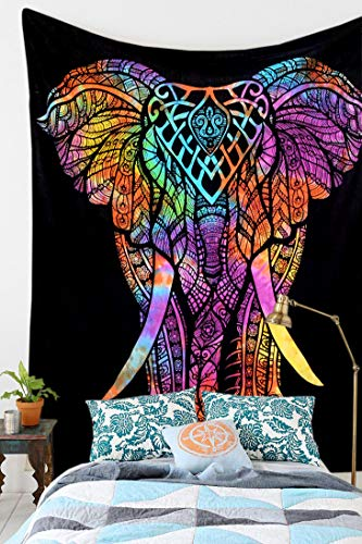 Royal Furnish Multi Tie Dye Tree Elephant Tapestry Elephant Tapestry Mandala Tapestry Wall Hanging Tapestry (Black-Multi) ()