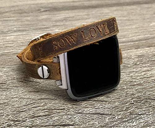 Amazon.com: Double Wrap Brown Leather Bracelet For Fitbit