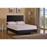 Home Life Black Leather 47 Tall Headboard Platform Bed with Slats King - Complete Bed 5 Year Warranty Included