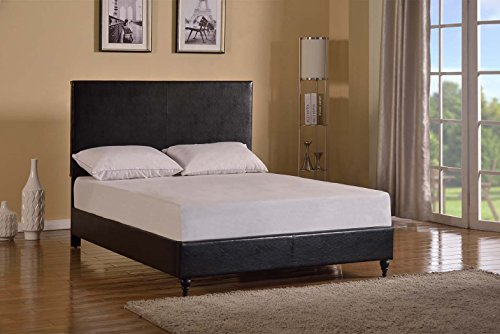 Home Life Black Leather Platform Bed with Slats Queen - Complete Bed 5 Year Warranty - Bed Queen Leather Complete