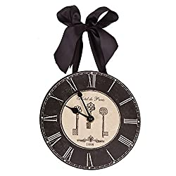 Hotel de Paris 1898 French Keys Roman Numeral Wall Clock 8-in HH122