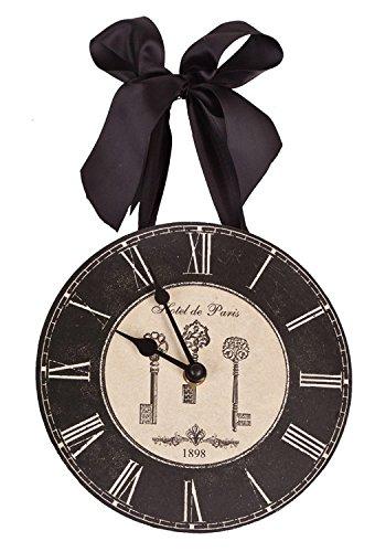 French Inspired Hotel De Paris w/Keys Wall Clock with Ribbon - 8 Inch