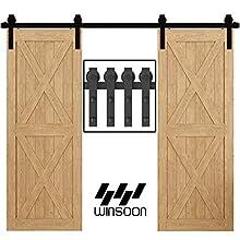 WINSOON 9FT Antique Double Sliding Barn Door Hardware Roller Track Kit Black, 4-18FT for Choose