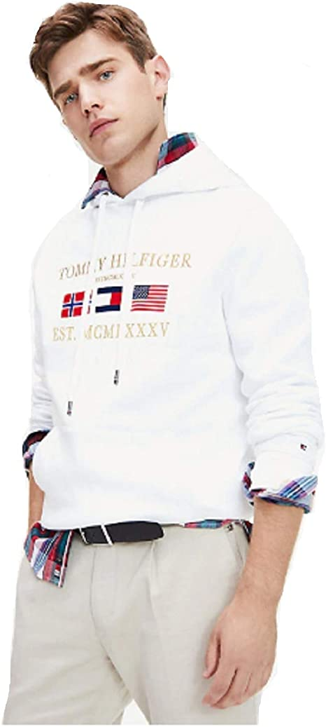 Tommy Hilfiger Felpa Uomo Bianca con Cappuccio e Logo