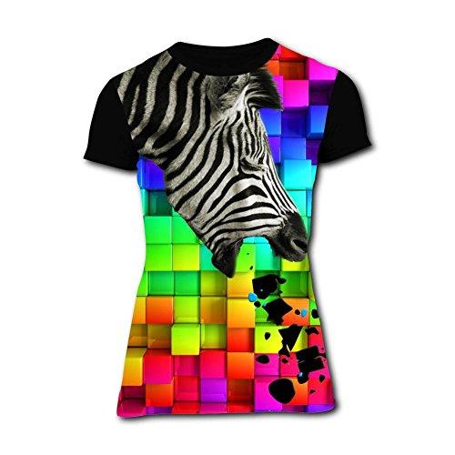Womens Creative Vomiting Zebra Short-Sleeve T-Shirts Tees XXL