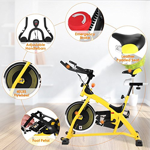 Fashine Indoor Cycling Bike 40lb Flywheel Stationary Bike Cycle Trainer Fitness Home Exercise Bike Cardio Bicycle