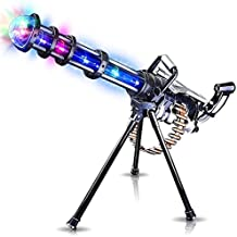"[Patrocinado] Light Up Rotary Machine Toy Gun with Tripod Stand by ArtCreativity | Rotating Barrel, LED and Sound Effects | 23"" Pretend Play Military Rifle 