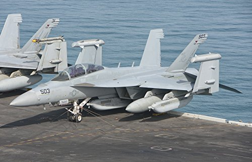 An EA-18G Growler assigned to Electronic Attack Squadron 137 (VAQ-137) embarked aboard the aircraft carrier USS Theodore Roosevelt (CVN 71) Poster Print (17 x 11) ()