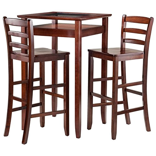 Winsome Wood Halo 3 Piece Pub Table Set with 2 Ladder Back Stools (Chair Back Ladder Small)
