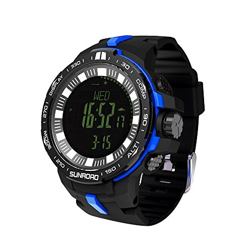 (SunRoad Multi-Function Climbing Sports Outdoor Digital Altimeter Watch with Swiss Sensor Fishing Index Altimeter Compass Thermometer Weather Forecast Waterproof (Blue))