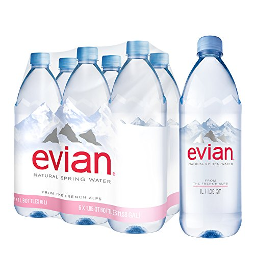 Evian Natural Spring Water 1 Liter 33 8 Ounce 6 Count