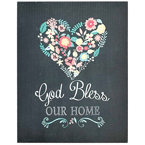 God Bless Our Home Heart of Flowers Black 14 x 11 Wood (Flower Heart Plaque)