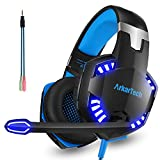 Gaming Headset with Mic for PS4 Xbox One PC, Over Ear Stereo 3.5mm Headphones Gamer with Microphone Noise Canceling for Nintendo Switch Tablet Phone Computer (Free Adapter)