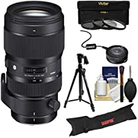 Sigma 50-100mm f/1.8 Art DC HSM Zoom Lens with USB Dock + Tripod + Case + 3 Filters + Kit for Canon EOS Digital SLR Cameras