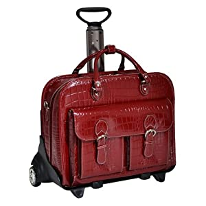 Siamod San Martino Leather Ladies Wheeled Detachable Laptop Case