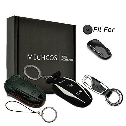 MECHCOS Compatible with fit for Tesla Model S Key Fob Sleeve - Leather Car Key Case Remote Key Fob Pocket Bag, Perfect Snug Fit, Bonus Rubber Silicone Tesla Model S Key Case and Zinc Alloy Key Ring