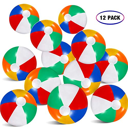 Coppthinktu 12 Pack Beach Balls - Rainbow Beach Balls Inflatable - Colorful Beach Balls Bulk Beach Theme for Party Favors Playing Kids Children Beach Toys - 6 Panel Colors