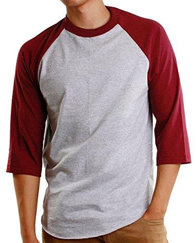 Mens 3/4 Raglan Sleeve Athletic Shirts Casual Tees for Men Baseball T-Shirt, (3X-Large, Gray/Burgundy)