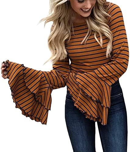 Yissang Women's Long Cascading Ruffle Sleeve Striped T Shirt Tunic Tops Pullover Blouse