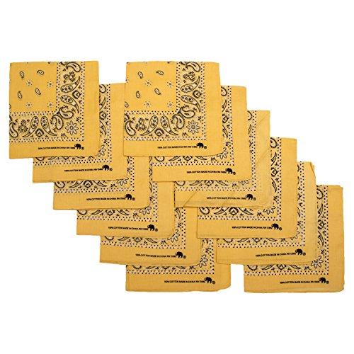 Elephant Brand Bandanas 100% cotton since 1898-12 Pack (Yellow)