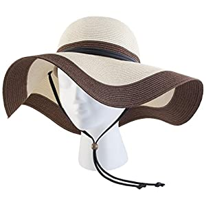 Sloggers Braided Wide Floppy Hat, Coffee Cream, UPF 50+  Maximum Sun Protection, Style 442CC