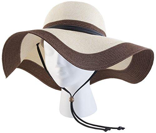 Sloggers Braided Wide Floppy Hat, Coffee Cream, UPF 50+  Maximum Sun Protection, Style 442CC