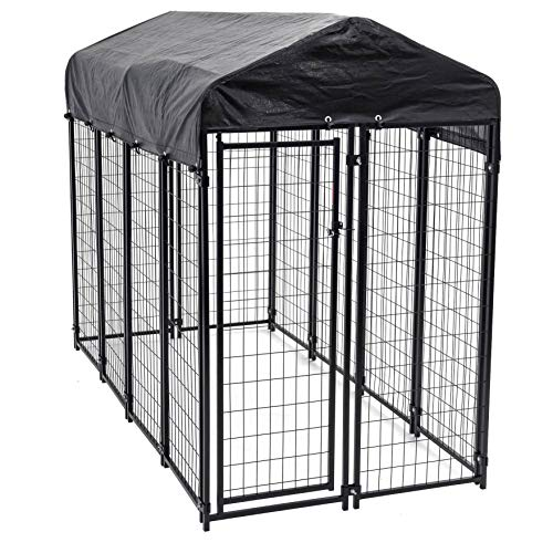 Heavy Duty Dog Cage - Lucky Dog Outdoor Pet Playpen - This Pet Cage is Perfect For Containing Small Dogs and Animals. Included is a Roof and Water-Resistant Cover (4'W x 8'L x 6'H) (Design For Small Ideas Patios)