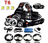 Hunting Fishing Best Deals - 5000Lumen Bright 3 CREE XM-L XML T6 LED Headlamp,KissAir(TM) Flashlight Torch 4 Modes Headlight with Rechargeable Batteries for Hiking Camping Outdoor Riding Night Fishing Hunting Running Night Riding