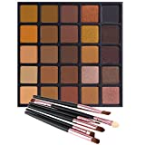 Image of Matte and Shimmer Eyeshadow Palette, Vodisa 25 Smoky Warm Color Eye Shadows Glitter Makeup Kit Make Up Brushes Set Nature Nude Earth Tone Waterproof Beauty Cosmetics High Pigment Powder Pallet 25A