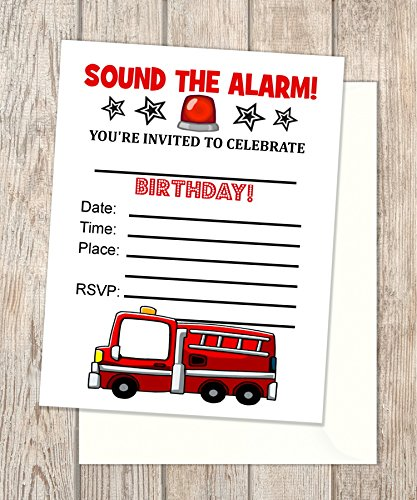 Amazon Com Fire Engine Truck Fill In Blank Invitations Flat Cards