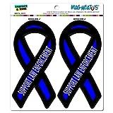 Support Law Enforcement Thin Blue Line Ribbon - Police MAG-NEATO'S(TM) Automotive Car Refrigerator Locker Vinyl Magnet Set