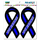 Support Law Enforcement Thin Blue Line Ribbon - Police MAG-NEATO'S(TM) Automotive Car Refrigerator Locker Vinyl Magnet Set