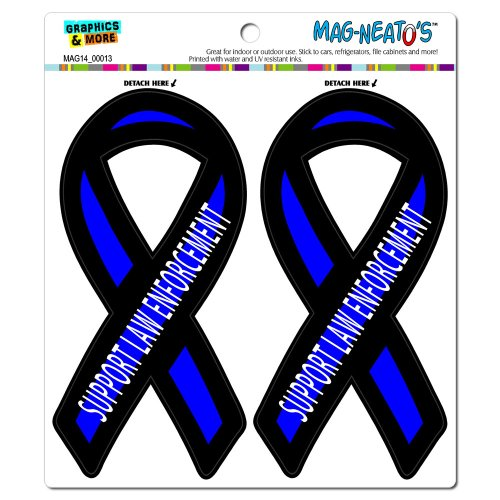 Graphics and More Support Law Enforcement Thin Blue Line Ribbon - Police Automotive Car Refrigerator Locker Vinyl Magnet Set