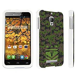 DuroCase ? Alcatel One Touch Fierce 7024W Hard Case White - (Army Camo Monogram T)