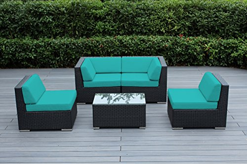 Ohana Outdoor Patio Wicker Furniture Sectional Conversation 5 pc Sofa Set Sunbrella Aruba