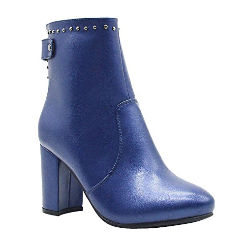 Studded Vegan Leather Women's Bootie Navy f7BqxqY