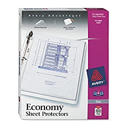 Avery(R) Top-Loading Nonstick Sheet Protectors, Economy, Diamond Clear, 8 1/2in. x 11in., Box Of 100