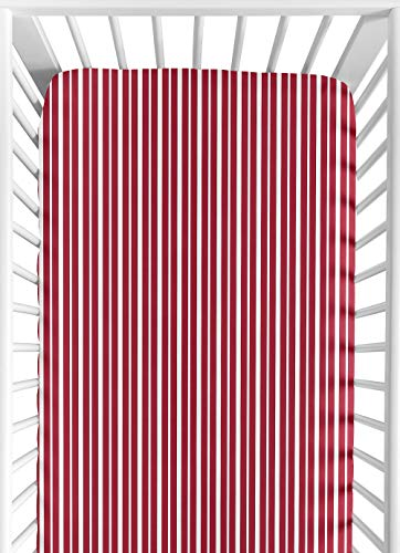 Sweet Jojo Designs Treasure Cove Fitted Crib Sheet for Baby and Toddler Bedding Sets - Red Stripe Print