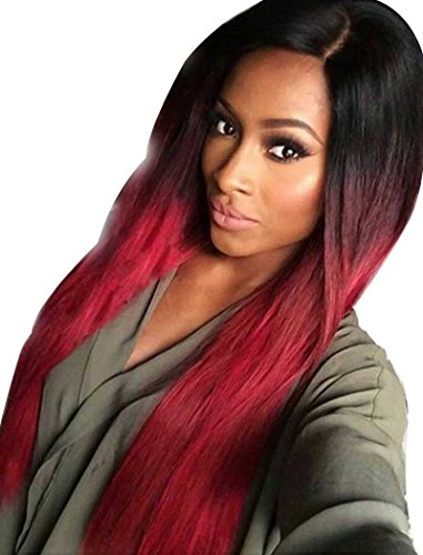 [Tsnomore Black to Red Silky Long Straight Synthetic Women Wig] (Long Red Wigs)