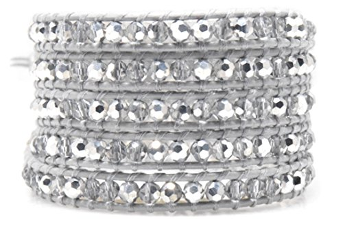 Silver Crystals Wrap Bracelet Genuine Grey Leather Handmade 5 Multilayer 4mm Beads Woven Bangle (5 Layers (33 (Emerson Wrap)