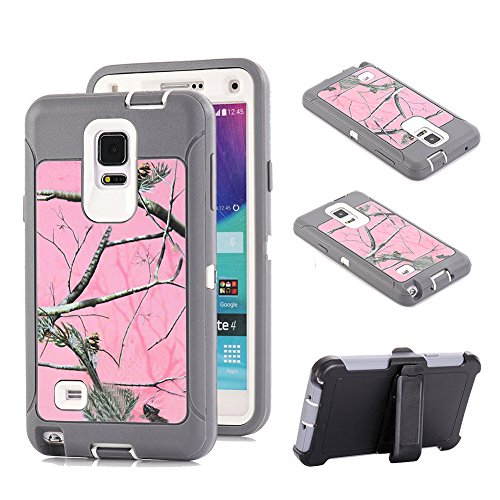 Galaxy Note 4 Holster Case, Kecko Defender Tree Camo Shockproof Military Duty Hybrid Combo Hard Rubber Case w/ Belt Clip Smooth Exquisite Camouflage Cover for Galaxy Note 4 (Pink Tree)