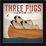 Three Pugs in a Canoe Ryan Fowler Dogs Dragonfly Art Print Framed Picture Wall Décor Artwork