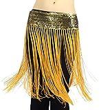 Pilot-trade Lady's Belly oriental Dance Fringe Tassel Brilliant Hip Scarf Belt Skirt Gold