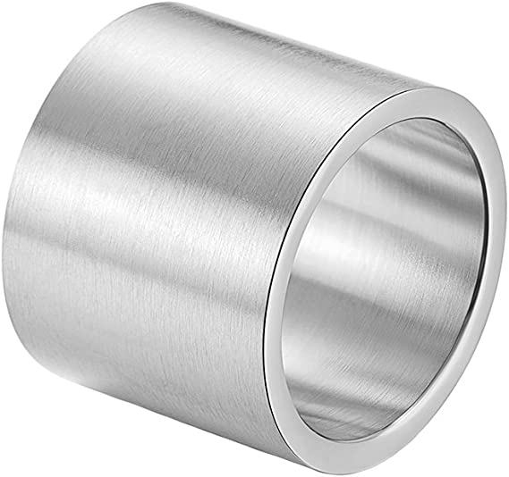 INRENG Mens Womens Stainless Steel 19mm Wide Ring Big Cool Plain Band Matte Finish Flat Top Silver