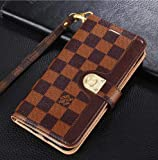 iPhone Xs Case, iPhone X Case, Classic Chess Board PU Leather Wallet Case with Card Slots Magnet Clasp for iPhone Xs, iPhone X