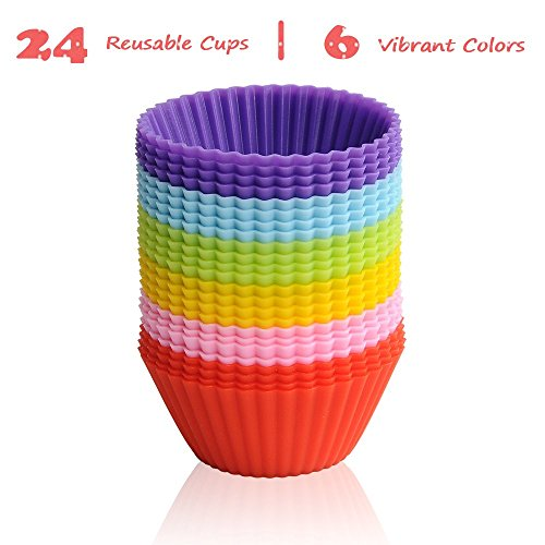LAVAVIDA Silicone Baking Cups, 24 Pack 6 Colors Cupcake Liners, Reusable & Nonstick Muffin Cups Cake Molds