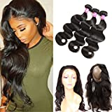 Ossilee Hair 8A Grade 360 Lace Frontal Closure with Bundles Malaysian Body Wave Hair Bundles with 360 Lace Frontal Unprocessed Human Hair Bundles with Frontal (22 24 26+20 360frontal, Natural Color)