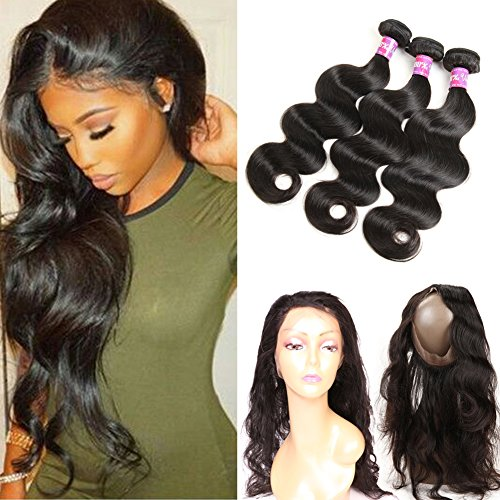 Ossilee Hair 8A Grade 360 Lace Frontal Closure with Bundles Malaysian Body Wave Hair Bundles with 360 Lace Frontal Unprocessed Human Hair Bundles with Frontal (22 24 26+20 360frontal, Natural Color) by Ossilee Hair